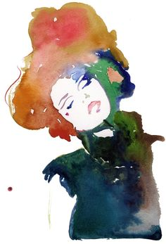 """Cate Parr; Watercolor, 2010, Painting """"Modelink 5"""""""