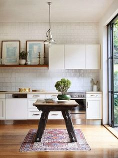 rustic table, tile, cabinet, design files, hous, open kitchens, wooden tables, oriental rugs, white kitchens
