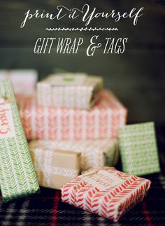 #DIY #gift wrap and tags. Printables here: http://www.stylemepretty.com/2012/12/09/smp-at-home-printable-gift-wrap-tags/   Photography by whiteloftstudio.com, Design and Styling by stylemepretty.com