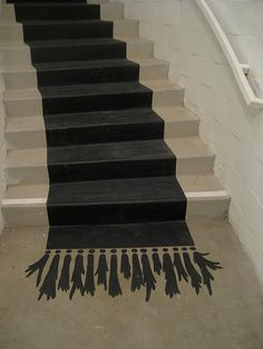 front steps, rug, basement stairs, floor, stairway, chalkboard paint, red carpets, stair runners, painted stairs