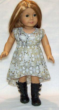 "American Girl, 18"" doll Muted Green Chiffon Print Dress on Etsy, $25.00"