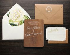 Real Wood Wedding Invitations with White Ink by oakandorchid
