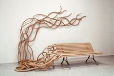 creeping vine bench modern furniture, wooden benches, park benches, seat, unusual furniture, garden benches, salvador dali, outdoor benches, tree bench
