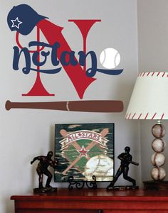 Baseball Name Decal- Sports- Wall Decal for Boy Baby Nursery or Boys Room - WD0060
