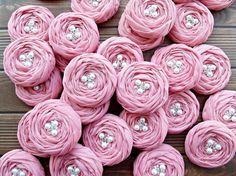 ROSE GARDEN Rose Pink Fabric Roses Handmade by BizimSupplies, $90.00