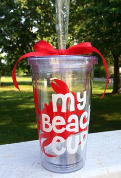My Beach Cup Acrylic Tumbler Personalized by CustomVinylbyBridge, $14.00