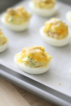 Ham and cheese melt deviled eggs