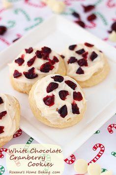 White chocolate cranberry cookies recipe roxanashomebaking.com
