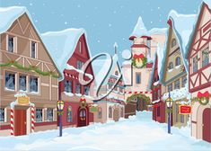 iCLIPART - Royalty Free Clipart Image of a Christmassy Town Street During the Day