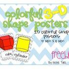 10 colorful {3D} shape posters, perfect for your calendar or math focus wall!  Shapes included in this packet are cone, cube, cylinder, rectangular... 3d shapes, kindergarten math, calendar wall, backgrounds, shape poster, focus walls, color 3d, posters, chevron