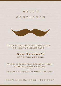 Gentlemans Moustache Bachelor Party Invitations