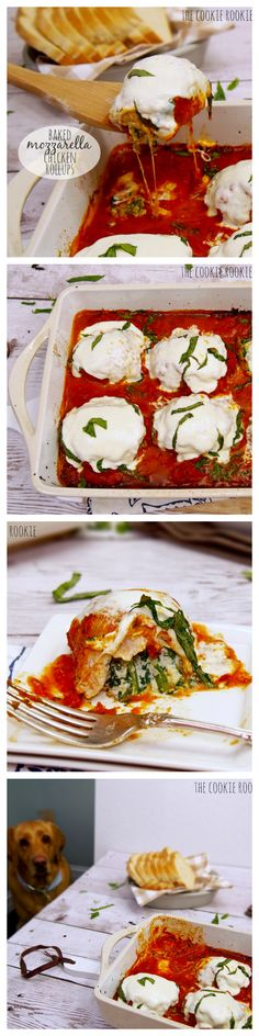 Baked Mozzarella Chicken Rollups, stuffed with sauteed spinach and ricotta! HEAVEN...HEALTHY!! #skinny - The Cookie Rookie