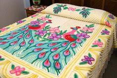 Vtg Plush Double Peacock Chenille Bedspread