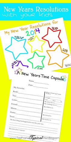 Making New Years Resolutions with your Kids- Free Printable Worksheets from Tips from a Typical Mom