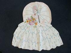 Vintage embroidered crinoline lady with pocket - nightdress case, peg bag | eBay