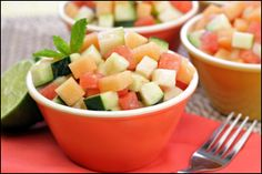 PIN THIS - Memorial Day cookouts aren't complete without Sassy Melon Salad and Tex-Mex side recipes from Hungry Girl!