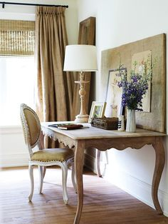 french desk, burlap drapes, bamboo shades