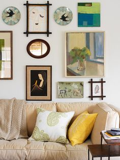 Stick to a color palette and turn a mix of art into a single standout feature. More flea market chic home accents:  http://www.bhg.com/decorating/decorating-style/flea-market/flea-market-chic-home-accents/?socsrc=bhgpin082513workofart=23