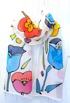 Silk Scarf Hand Painted, Flower Power MOD Silk Scarf. Multicolor Floral Scarf, Silk Chiffon Scarf. 8x50 in. Made to order.
