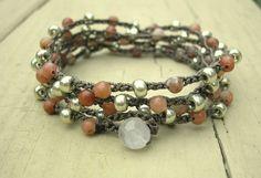 Earthy crochet bracelet Rosewood Bohemian jewelry by 3DivasStudio, $38.00
