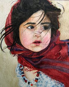 Watercolor Portrait by **Alieh** in my paintings, via Flickr.  Such talent, this is spectacular and done from a picture.  Love it.