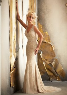 Mori Lee - Style 1908 - Delicate Beaded Embroidery on Silky Net