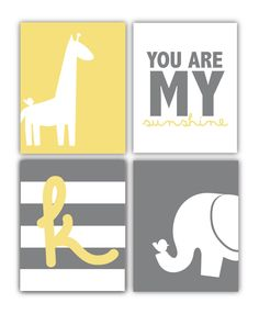 Printable nursery art - You Are My Sunshine - Babys initial - Elephant - Giraffe - Wall Art - Customizable. $20.00, via Etsy.