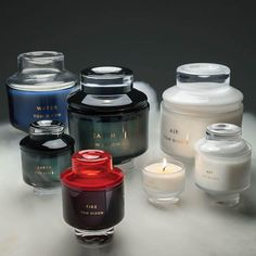 The scents for Tom Dixon's new line of candles–– Fire, Air, Earth, and Water–– were created in collaboration with French fragrance-experts Cire Trudon and are housed in gorgeous mouth-blown vessels.