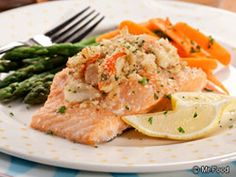 Crabmeat Stuffed Salmon - The recipe calls for imitation crab meat but there is no way in hell I could bring myself to use it... if you are gonna make this, spring for the real deal.