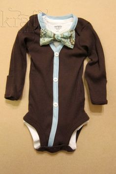 Baby Boy Outfit  Brown/Baby Blue Cardigan & by KraftsbyKizzy.  Holy cow these are adorable.  Might have to buy them for the boys to wear to Jake and Joslin's wedding this summer.