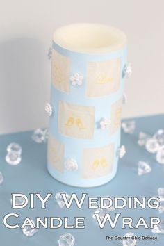 Make this great DIY wedding candle wrap in minutes with this super simple tutorial that will be perfect for your wedding.