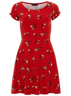 Red ditsy floral dress - £18