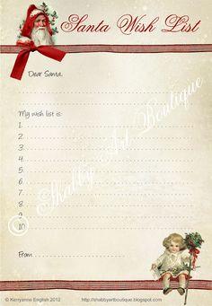 Shabby Art Boutique: Free Printable Vintage Letters to Santa & Wish List