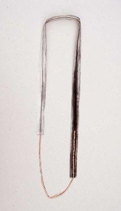 """Hsiu Hsuan Huang """"Tracing Memory A"""" 2007 (silk sheet, pearl, ink, tread)"""