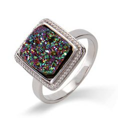 Sterling Silver Cabled Mystic Fire Drusy Ring, $52
