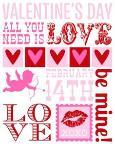 FREE Valentine's Day Subway Art printable from The Paper Cupcake!    #valentine