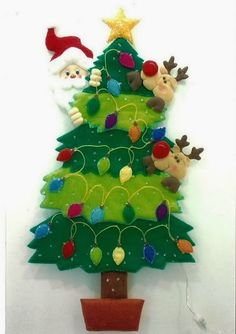 Rbol de navidad en fieltro - Adornos arbol navidad fieltro ...