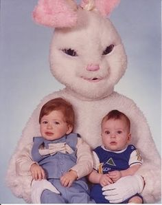 Happy Easter From all the Creepy Bunnies. (Shhh don't tell him, but he's the daggone ugliest Easter Bunny I've ever seen)