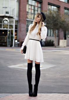 White Sheer Long Puff-Sleeved Dress with Ruffled Chest and Black Knee High Socks and Accessories