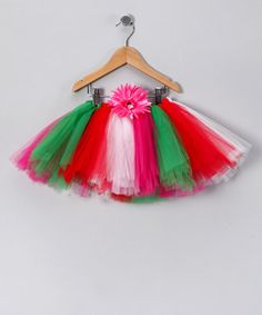 red, white, pink and green tutu
