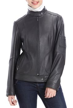 A cute and trendy Jessie G. Women's Tabbed Neck Lambskin Leather Scuba Jacket is a fashion statement.  This jacket is accented with zip pockets and an adorable small pocket on the left sleeve.  http://www.luxurylane.com/411-129838-agy.html