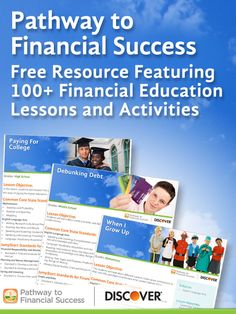 Free financial education activities for grades K-12 #pathwaytofinancialsuccess #discover #weareteachers