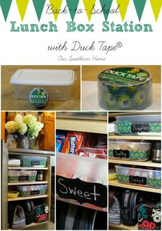 Duck Tape® Lunch Box Station {Back-to-School} (love the idea of decorating with the duct tape)