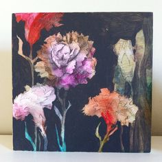 Carnation painting on wood panel by AnnieKoelle on Etsy, $75.00