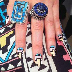 graphic prints, nail arts, tribal nails, rock, sweet nails, neon nails, tribal prints, blue nails, tribal patterns