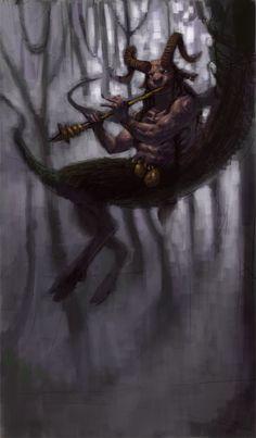 sátiro.... son criaturas salvajes propias de los montes y los bosques que se caracterizan por su carácter despreocupado, cruel y lascivo.