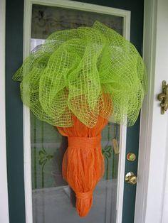 Mesh Ribbon Carrot Wreath!