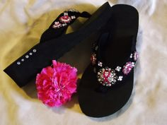 Pink Support Ribbon Western Cowgirl Concho Flip Flops, lots of bling! Sizes 5/6,  9/10    $35.00   www.pamperedcowgirl.com