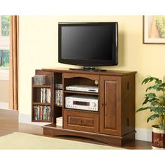 """Wood Bedroom Height TV Stand with Closed Media Storage, Brown, for TVs up to 50"""""""