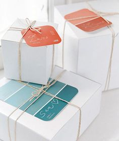 Paint chips as gift tags (and i already have enough blue+aqua things on my color match board...)